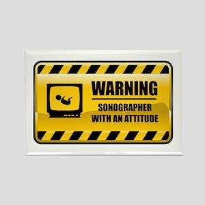 Warning Sonographer Rectangle Magnet