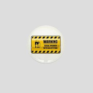 Warning Social Worker Mini Button