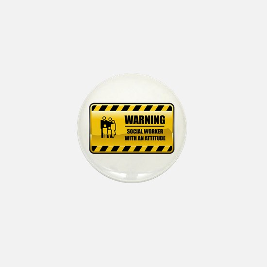 Warning Social Worker Mini Button