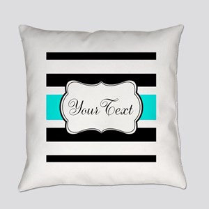 Personalizable Teal Black White Stripes Everyday P