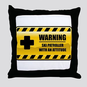 Warning Ski Patroller Throw Pillow