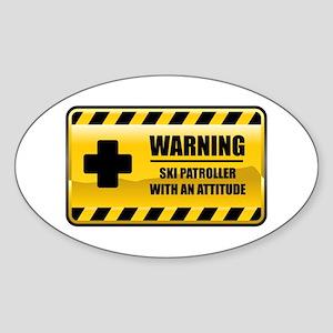 Warning Ski Patroller Oval Sticker