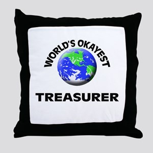 World's Okayest Treasurer Throw Pillow