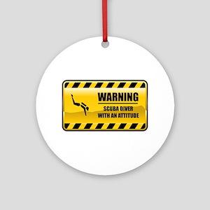 Warning Scuba Diver Ornament (Round)