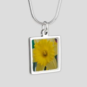 yellow daffodil Silver Square Necklace