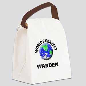 World's Okayest Warden Canvas Lunch Bag