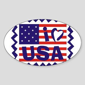 I Heart USA Stamp Oval Sticker