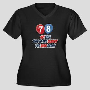 78 Oldest I' Women's Plus Size V-Neck Dark T-Shirt