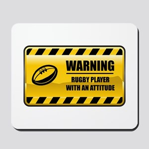 Warning Rugby Player Mousepad