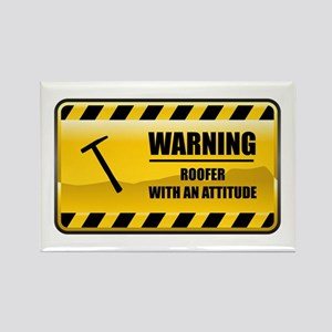 Warning Roofer Rectangle Magnet