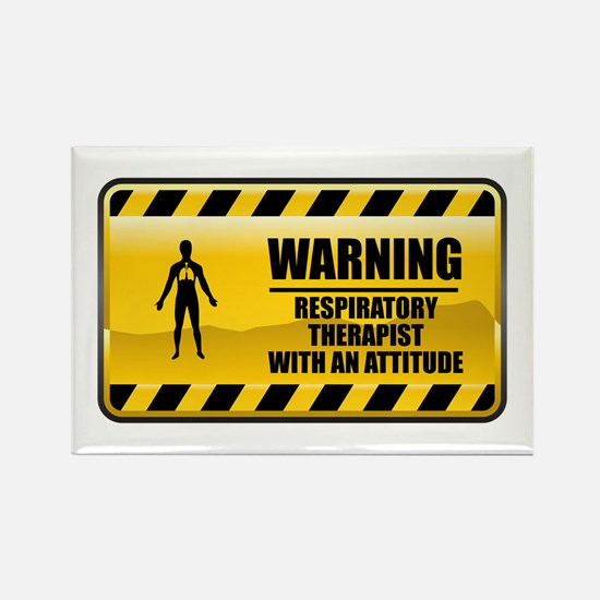 Warning Respiratory Therapist Rectangle Magnet