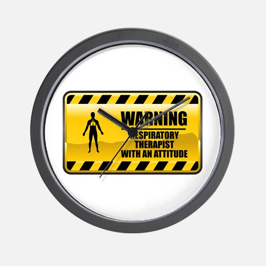 Warning Respiratory Therapist Wall Clock