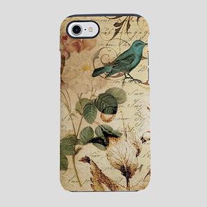 teal bird vintage roses bota iPhone 8/7 Tough Case