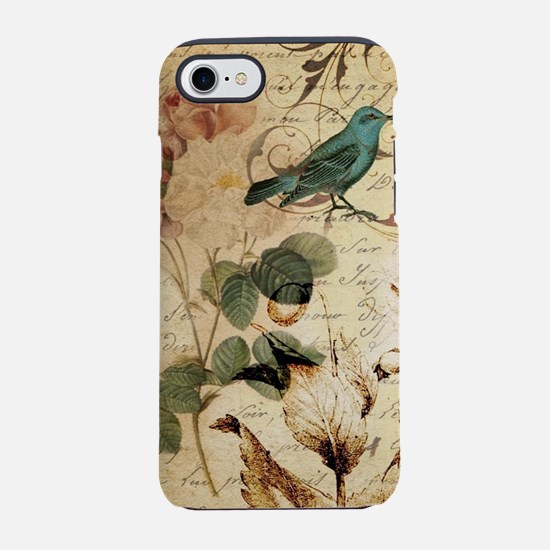 teal bird vintage roses bota iPhone 8/7 Tough Case