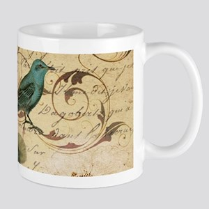teal bird vintage roses botanical art Mugs