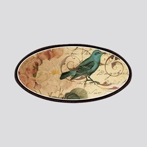 teal bird vintage roses botanical art Patch