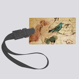 teal bird vintage roses botanica Large Luggage Tag