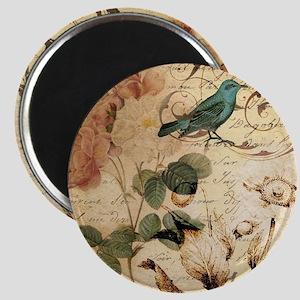 teal bird vintage roses botanical art Magnets