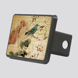 teal bird vintage roses bo Rectangular Hitch Cover