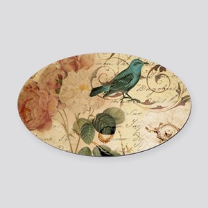 teal bird vintage roses botanical Oval Car Magnet