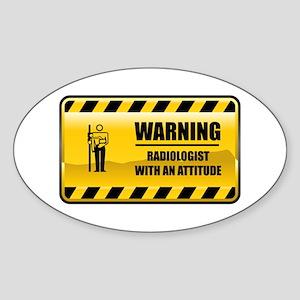 Warning Radiologist Oval Sticker