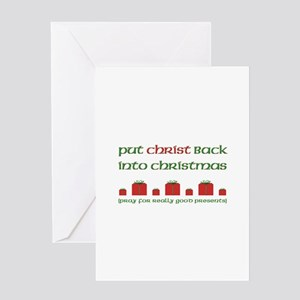 Christmas edgy greeting cards cafepress christ mas presents greeting card m4hsunfo Images