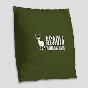 Deer: Acadia National Park, Ma Burlap Throw Pillow