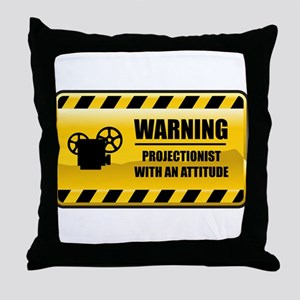 Warning Projectionist Throw Pillow