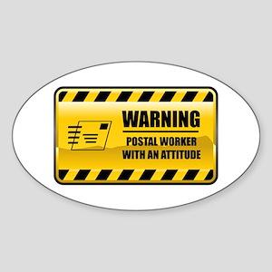 Warning Postal Worker Oval Sticker