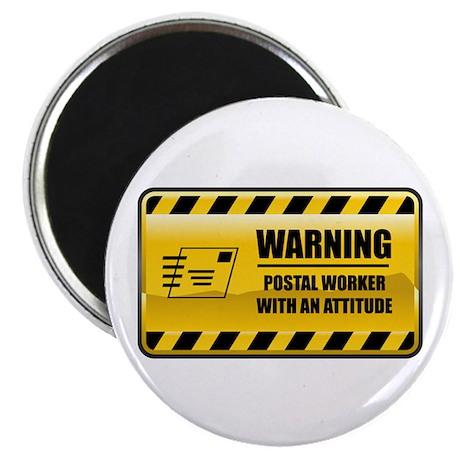 """Warning Postal Worker 2.25"""" Magnet (10 pack)"""