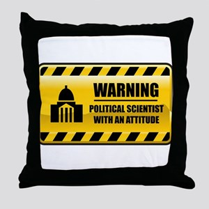 Warning Political Scientist Throw Pillow