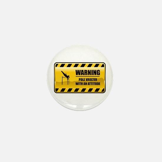 Warning Pole Vaulter Mini Button