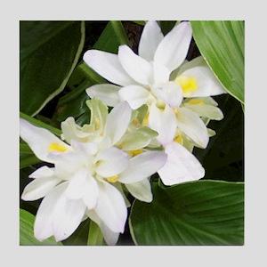 White Blossoms Tile Coaster