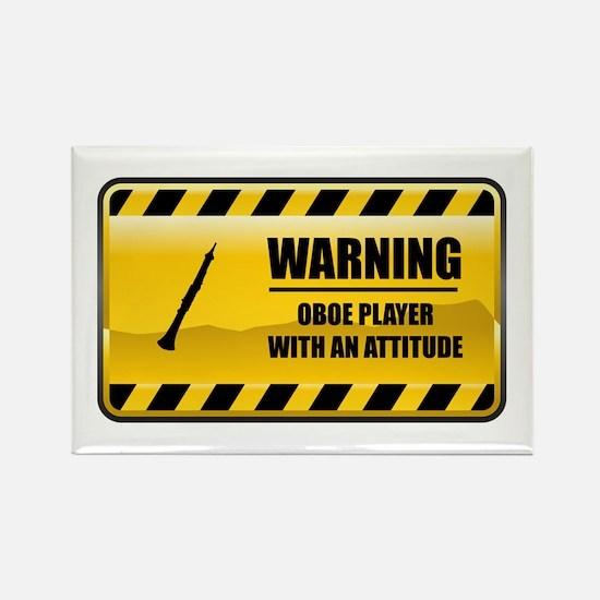 Warning Oboe Player Rectangle Magnet