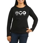Peace Love Camel Women's Long Sleeve Dark T-Shirt