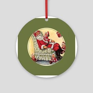 Santa w/Baby Elves Ornament (Round)