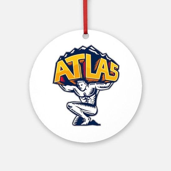 Atlas Lifting Mountain Kneeling Woodcut Round Orna