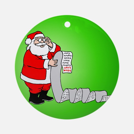 Santa's Nice List Ornament (Round)