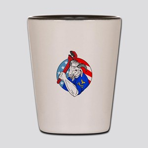 Navy Goat Holding Pipe Wrench USA Flag Circle Retr