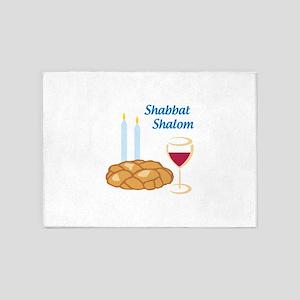 Shabbat Shalom 5'x7'Area Rug