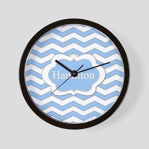 Baby Blue Chevron Wall Clock