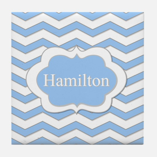 Baby Blue Chevron Tile Coaster