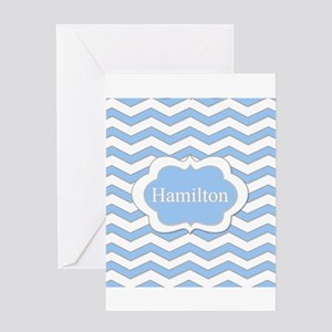Baby Blue Chevron Greeting Cards