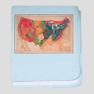 Vintage United States Geological Map baby blanket