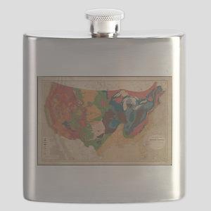 Vintage United States Geological Map (1872) Flask