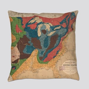 Vintage United States Geological M Everyday Pillow