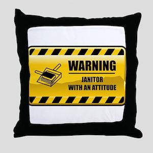 Warning Janitor Throw Pillow