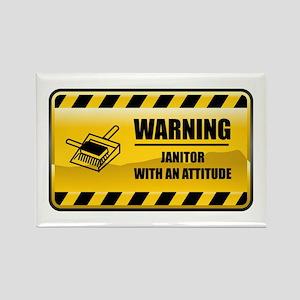 Warning Janitor Rectangle Magnet
