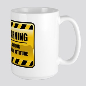 Warning Janitor Large Mug