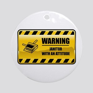 Warning Janitor Ornament (Round)